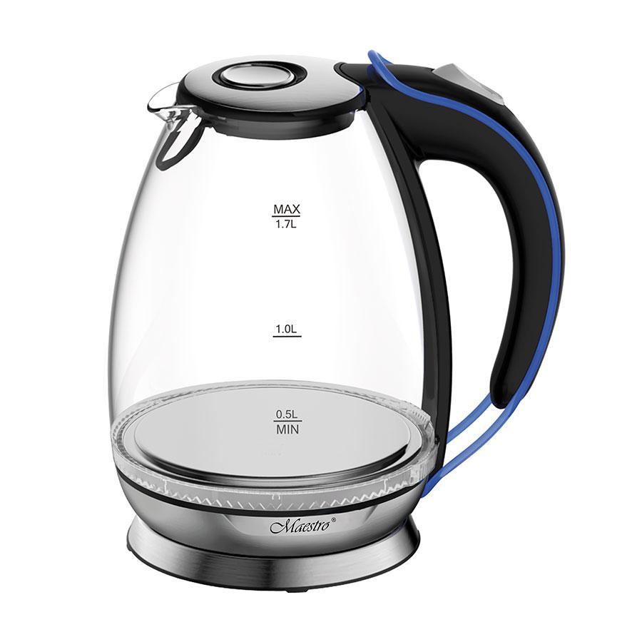 Стеклянный электрочайник Maestro MR-054 (1.7 л, 2200 Вт, подсветка) | электрический чайник Маэстро, Маестро
