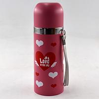 Вакуумный детский металлический термос BENSON BN-55 розовый (350 мл) | термочашка LOVE, фото 1