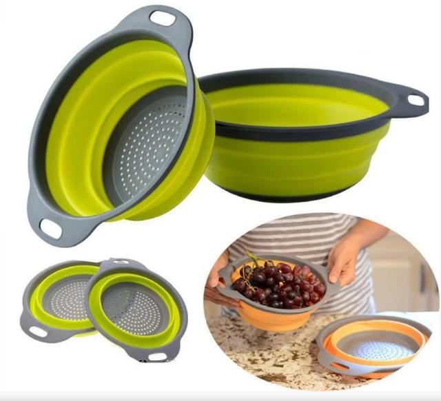 Дуршлаг силиконовый складной большой + маленький Collapsible filter baskets | Складной силиконовый друшлаг
