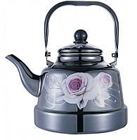 Эмалированный чайник с подвижной ручкой Benson BN-104 черный с рисунком (1.1 л), фото 1