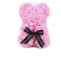 Красивый мишка из латексных 3D роз 25 см с лентой в подарочной коробке | Светло розовый, фото 1