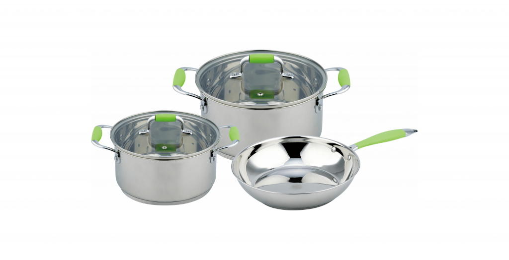Набор кухонной посуды Con Brio СВ-1149 5 предметов 2 кастрюли с крышками сковорода