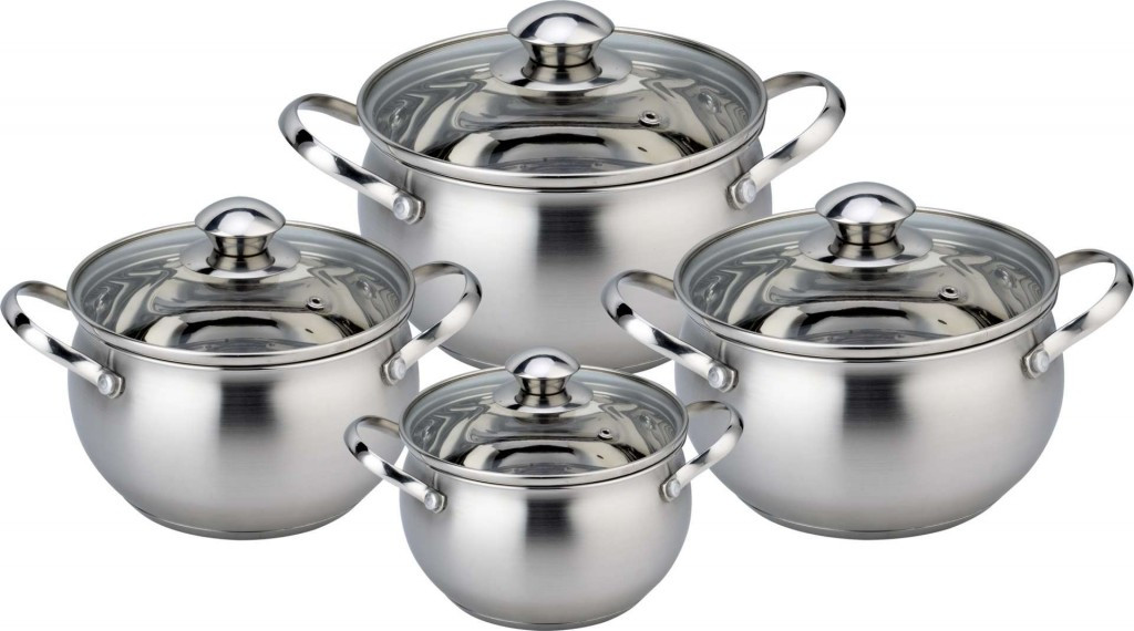 Набор кухонной посуды Con Brio СВ-1151 8 предметов 4 кастрюли с крышками