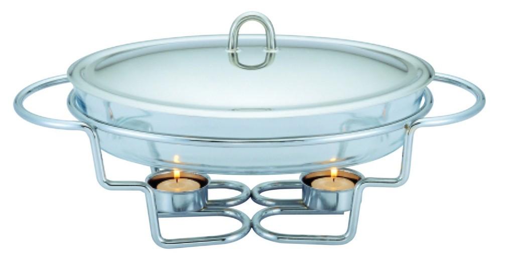 Мармит настольный стеклянный Con Brio СВ-204 (1.5 л)  | блюдо с подогревом на подставке Con Brio