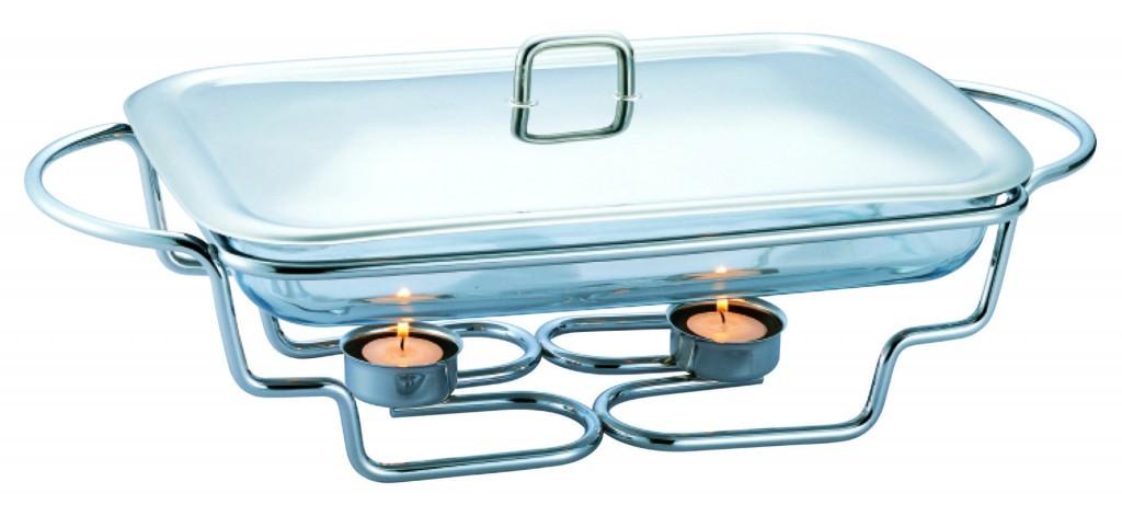 Мармит настольный стеклянный Con Brio СВ-202 (2.0 л)    блюдо с подогревом на подставке Con Brio