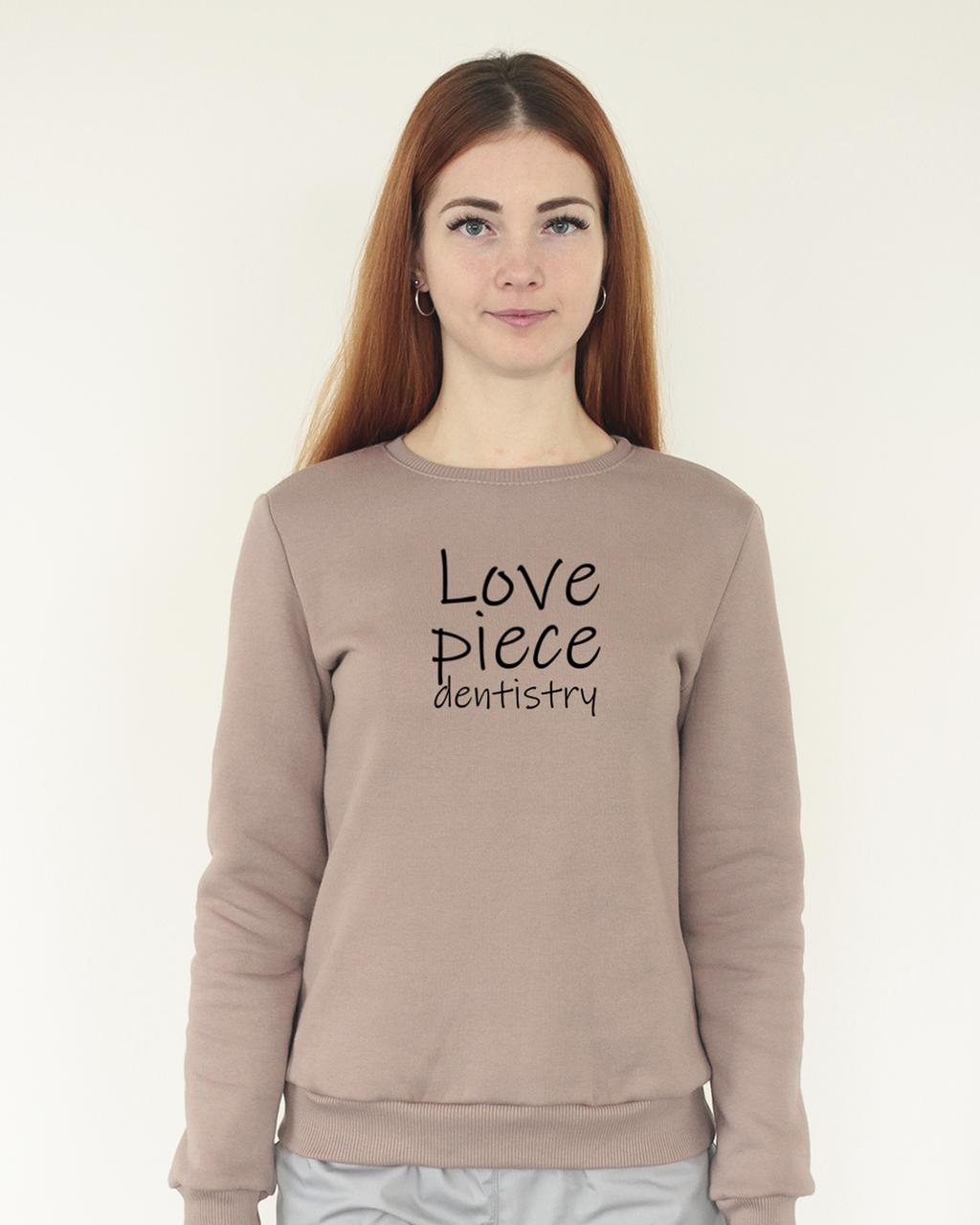 Теплый женский свитшот с начесом, декорированный принтом Love Piece для стоматологов