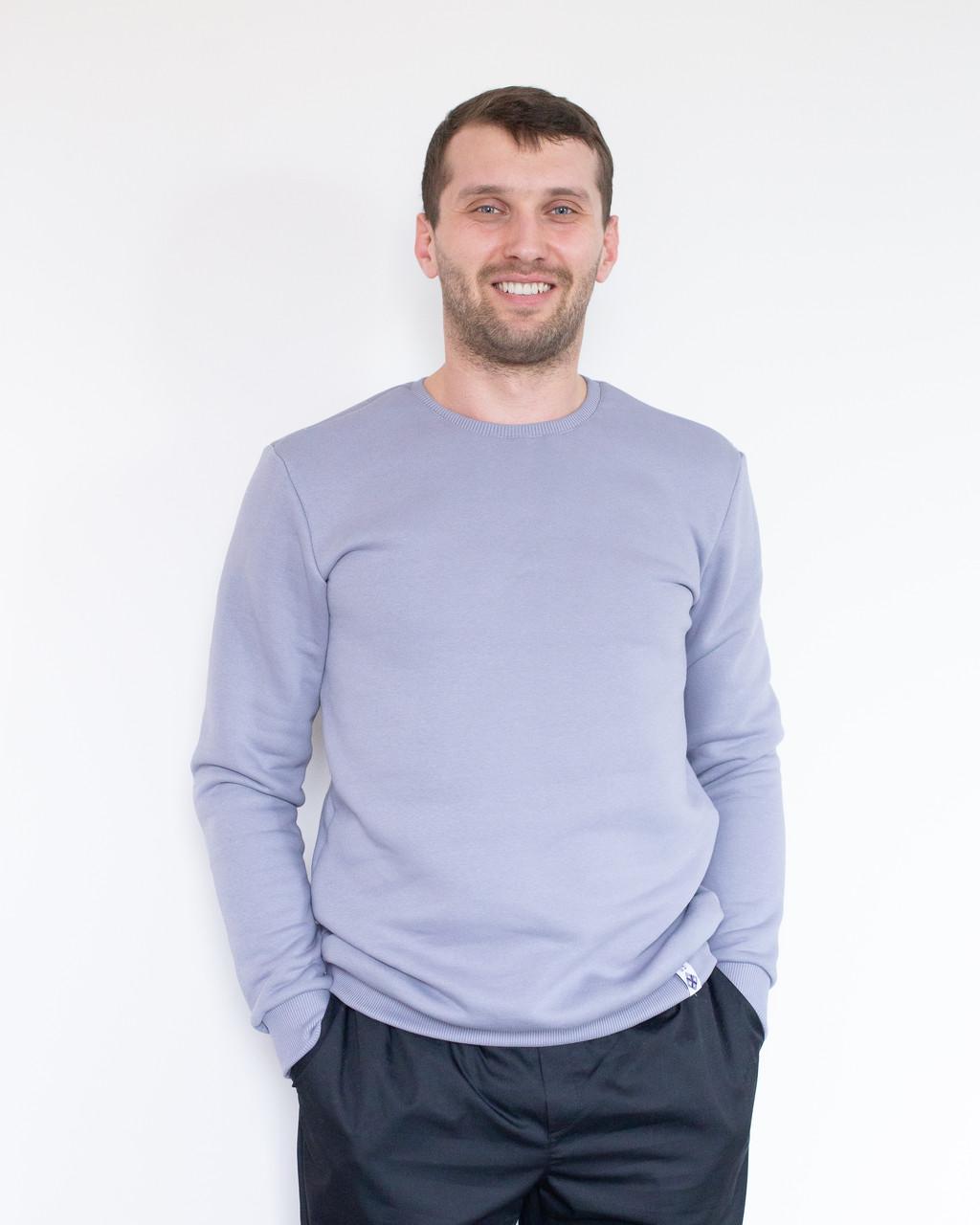 Теплый мужской свитшот с начесом серый