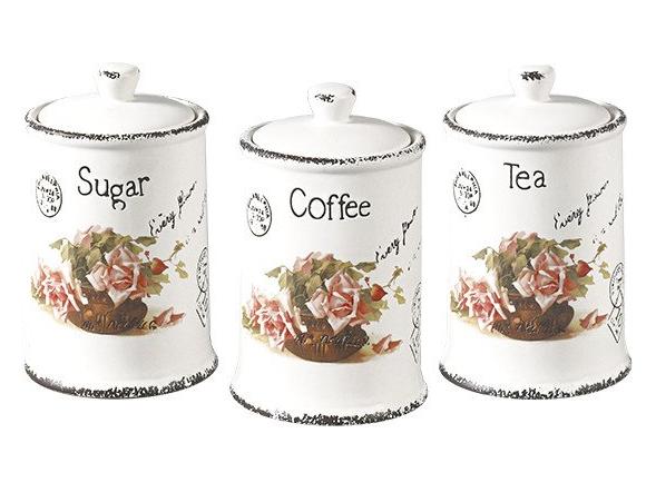 """Набор емкостей для сахара, кофе и чая """"Открытка-роза"""" Maestro MR-20050-03CS (3 шт)   кухонные баночки"""