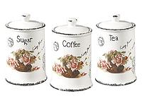 """Набор емкостей для сахара, кофе и чая """"Открытка-роза"""" Maestro MR-20050-03CS (3 шт)   кухонные баночки, фото 1"""