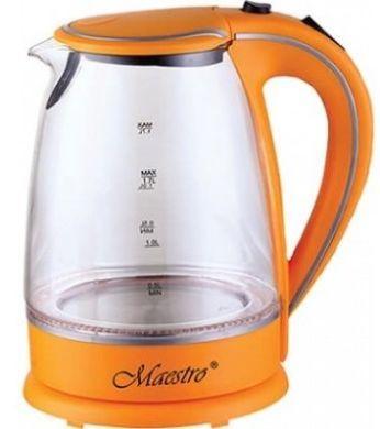 Стеклянный электрочайник Maestro MR-064 (1.7 л, 2000 Вт, подсветка) | электрический чайник Маэстро оранжевый