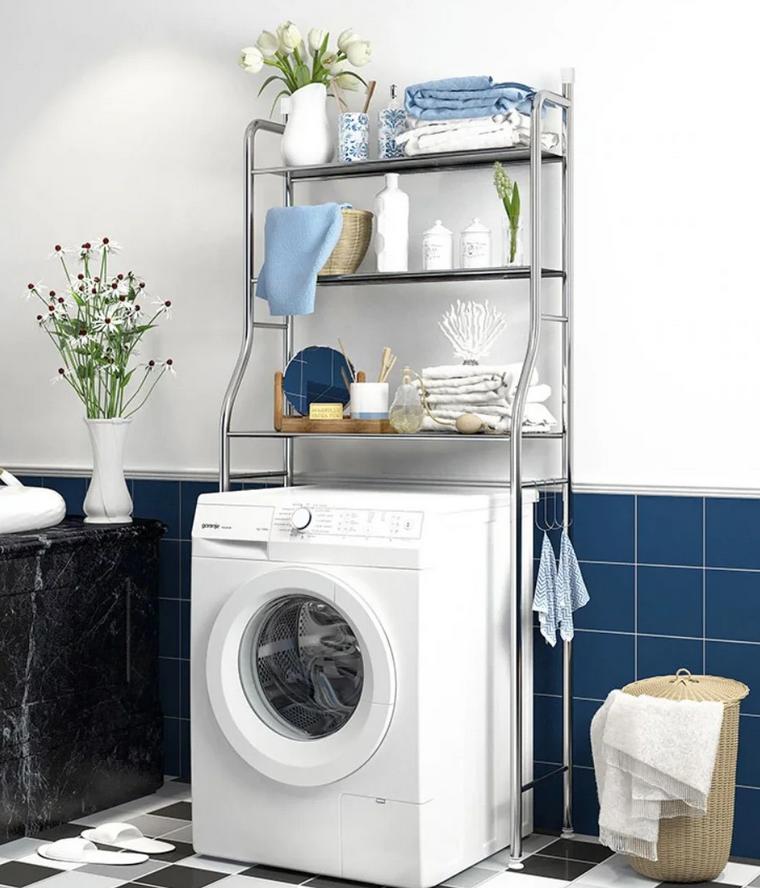 Стелаж для зберігання над пральною машиною регульований по висоті TW-106   Етажерка для ванної