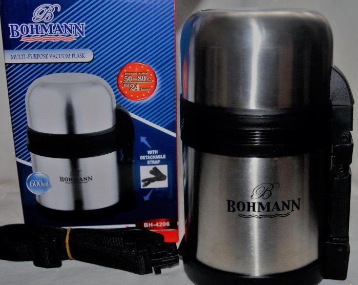 Термос Bohmann BH 4206 из нержавеющей стали с ручкой и чашкой 0,6 л | Термочашка