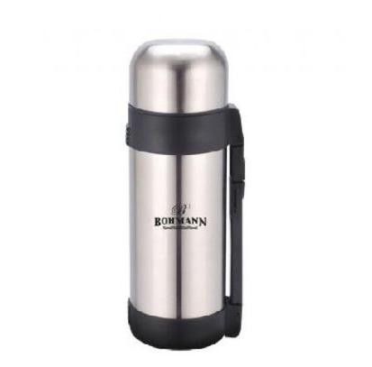 Термос Bohmann BH 4210 из нержавеющей стали с ручкой и чашкой 1 л | Термочашка