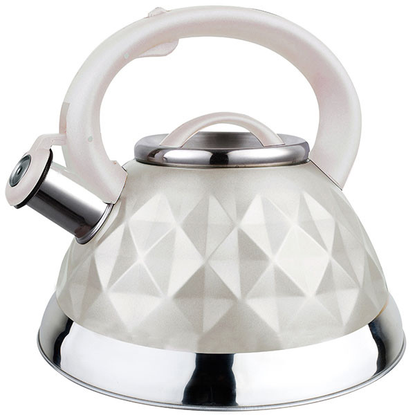 Чайник со свистком из нержавеющей стали Maestro MR-1311 (3 л) белый | металлический чайник Маэстро, Маестро