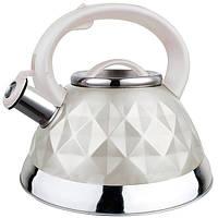 Чайник со свистком из нержавеющей стали Maestro MR-1311 (3 л) белый | металлический чайник Маэстро, Маестро, фото 1