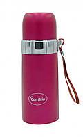 Вакуумный термос из нержавеющей стали Con Brio СВ-381 (350 мл) | термочашка Con Brio | термос 0,35 л розовый, фото 1