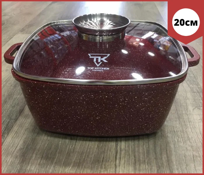 Кастрюля Top Kitchen ТК00054 с крышкой мраморное покрытие 20 см 2.7 л бордо