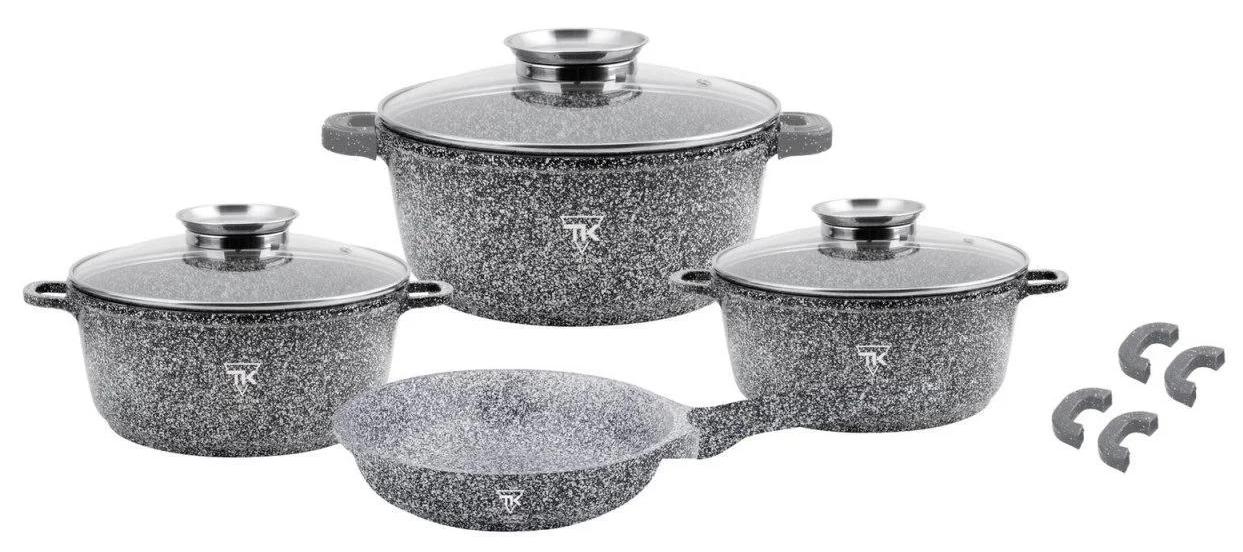 Набор кухонной посуды Top Kitchen ТК00076 из 13 пр. мраморное покрытие кастрюли сковорода серый