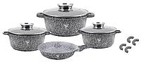Набор кухонной посуды Top Kitchen ТК00076 из 13 пр. мраморное покрытие кастрюли сковорода серый, фото 1