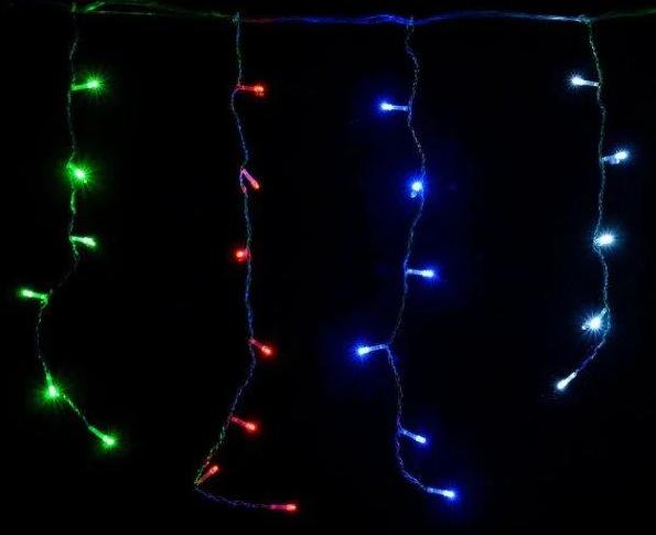 Гирлянда бахрома разноцветная 120LED 4м RD-7078 черный провод  Новогодняя светодиодная гирлянда уличная RGB