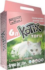 Наполнитель соевый Kotix (Котикс) Tofu Honey Peach 6л с ароматом сладкого персика для кошачьего туалета