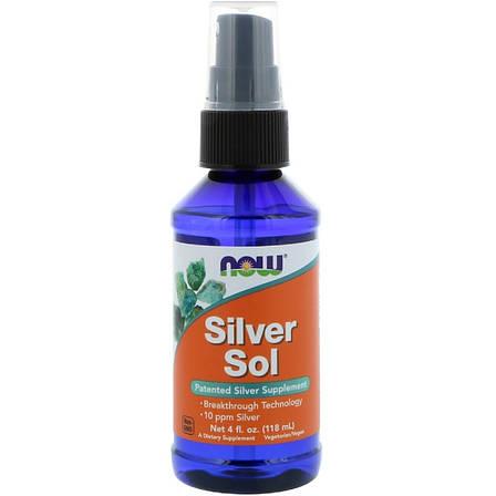 Коллоидное Серебро, Now Foods, Silver Sol, 4 жидких унций (119 мл), фото 2