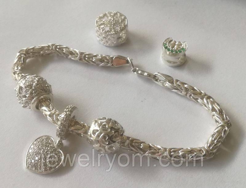 Браслет женский БРПс с подвесками бусинами, серебро 925 пробы