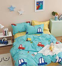 Комплект постельного белья Bella Villa сатин полуторный голубой с машинками