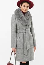 Зимнее пальто женское с мехом светло-серое MS-191 Z