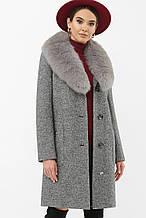 Зимнее пальто женское с мехом серое MS-191 Z