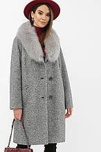 Пальто женское зимнее с мехом серое MS-207 Z