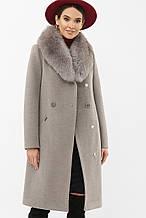 Зимнее женское пальто с мехом серое MS-255 Z