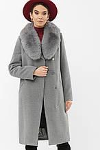 Зимнее женское пальто с мехом темно-серое MS-255 Z