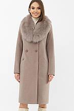 Зимнее женское пальто с мехом темно-бежевое MS-255 Z