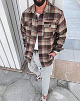 Клетчатая рубашка мужская стильная коричневая