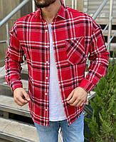 Клетчатая рубашка мужская стильная красная