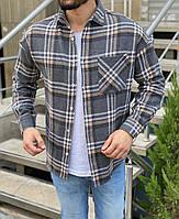 Клетчатая рубашка мужская стильная серая