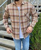 Модная рубашка мужская в клетку бежевая