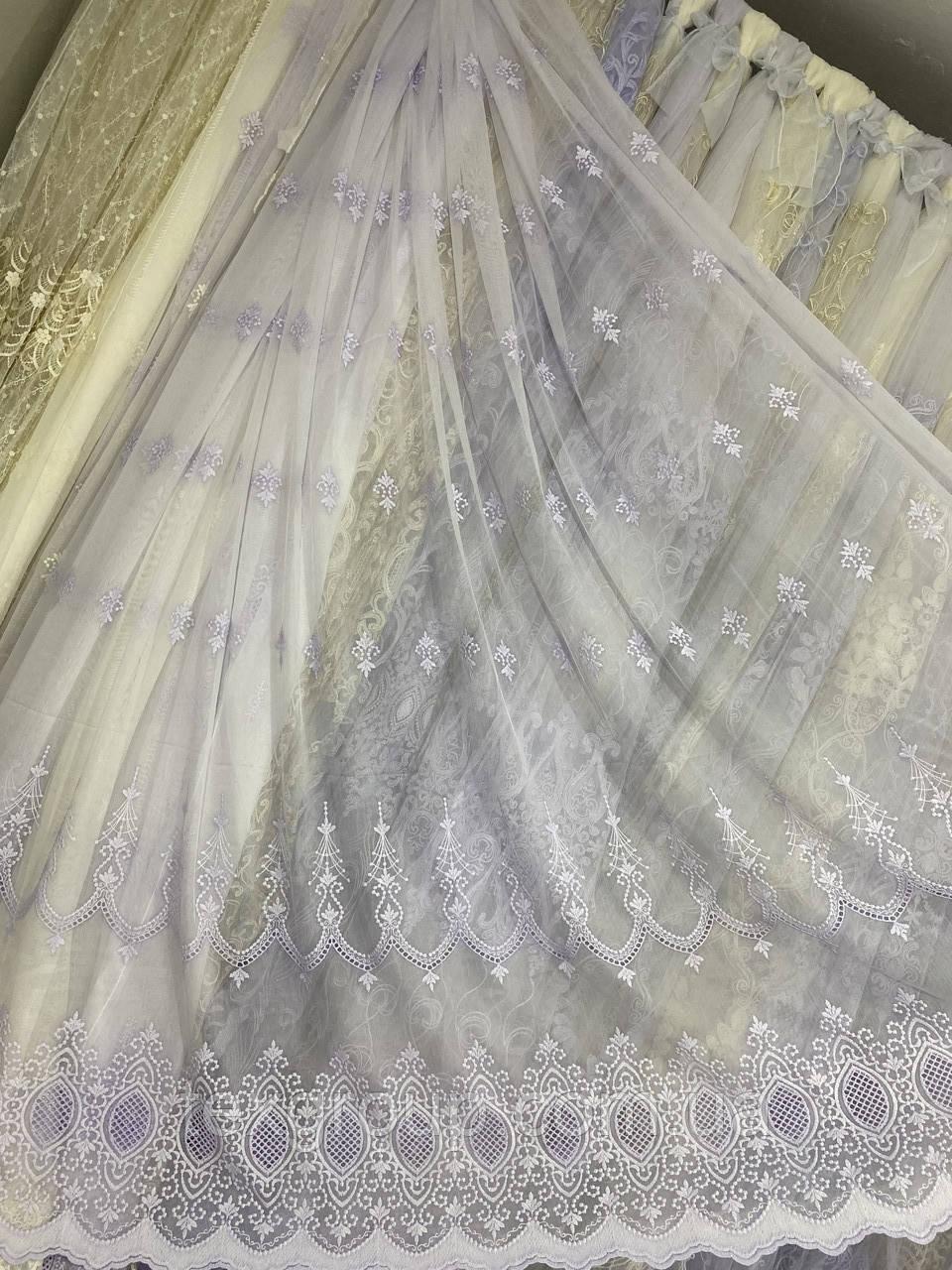 Льняная гардина с вышивкой и плетением макраме 16Р515