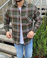 Модная рубашка мужская в клетку хаки