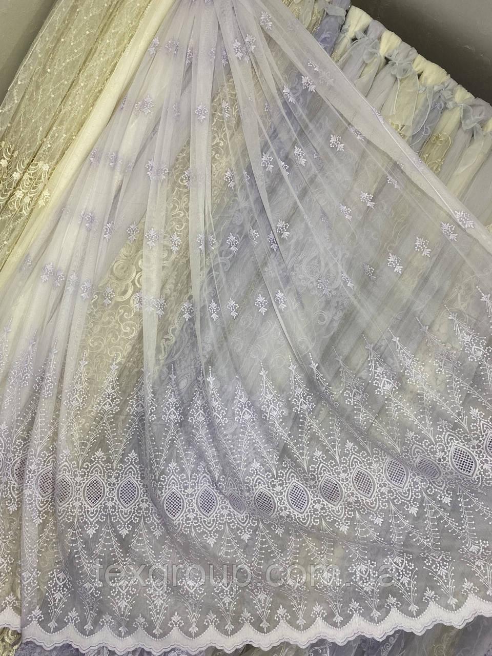 Льняная гардина с вышивкой и плетением макраме 16Р526