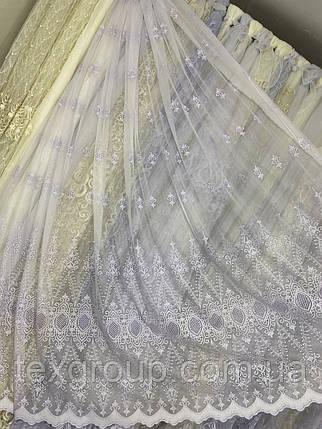 Льняная гардина с вышивкой и плетением макраме 16Р526, фото 2
