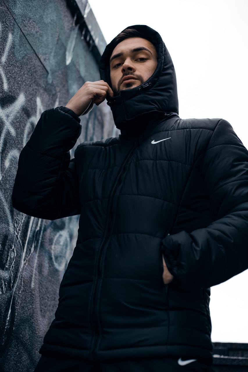 """Куртка мужская зимняя с капюшоном, найк Jacket Winter """"Euro"""", теплый пуховик, цвет черный"""