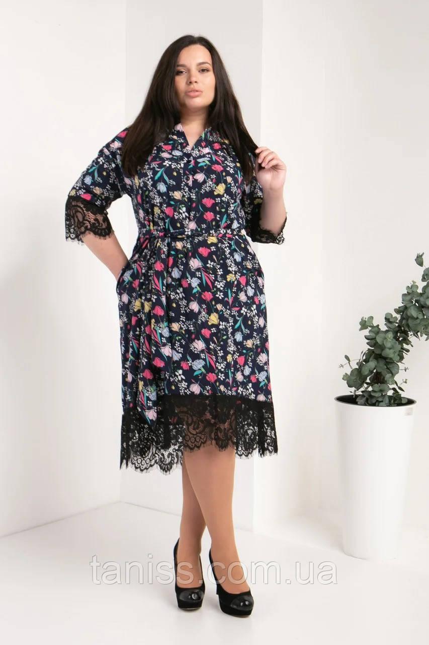 Ошатне плаття-сорочка великого розміру з софта, з мереживом р. 50,52,54 квіти