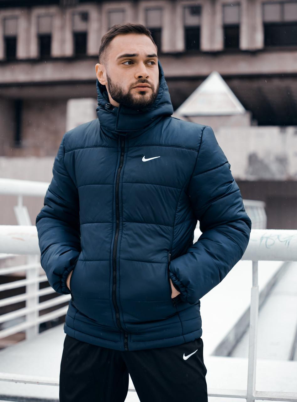 """Куртка мужская зимняя с капюшоном, найк Jacket Winter """"Euro"""", теплый пуховик, цвет синий"""