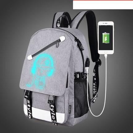 Рюкзак Music серый с USB светящийся в темноте с кодовым замком Senkey&Style