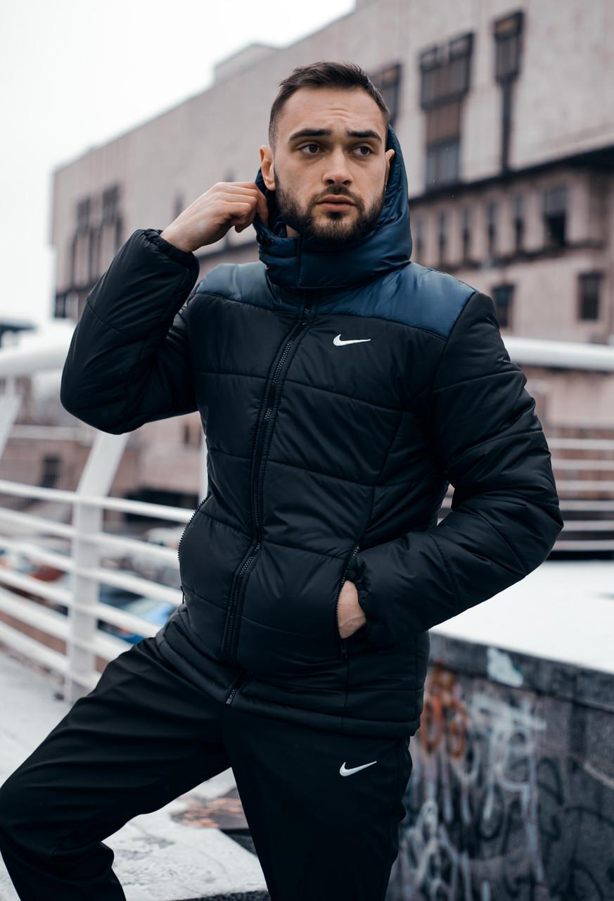 """Куртка мужская зимняя с капюшоном, найк Jacket Winter """"Euro"""", теплый пуховик, цвет черно-синий"""