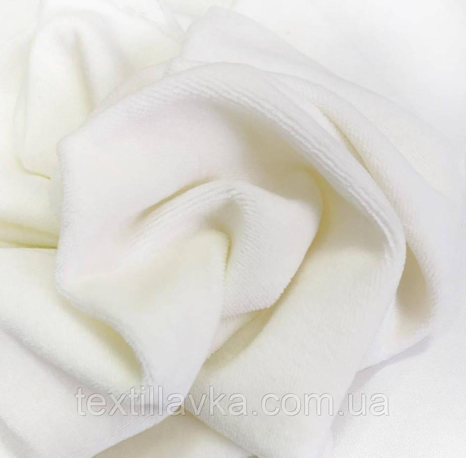 Ткань велюр хлопковый молочный