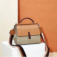 Женская сумка из натуральной кожи бежевая опт, фото 1