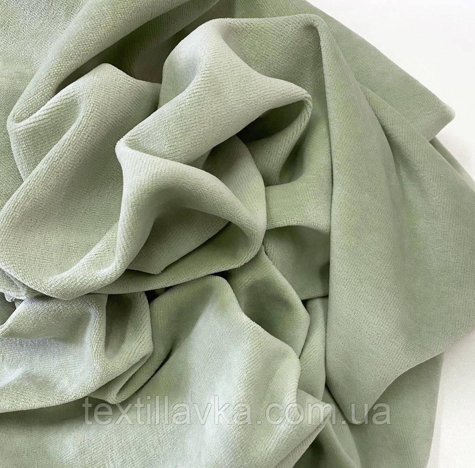 Ткань велюр хлопковый фисташковый